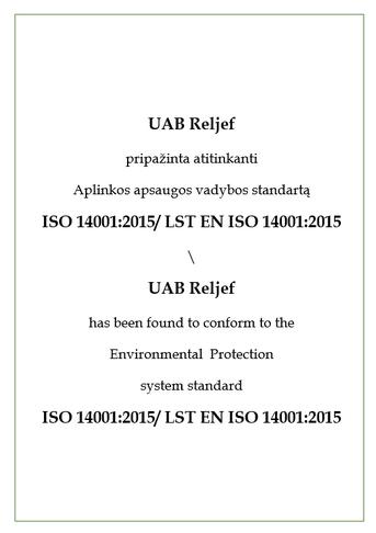 Reljef sertifikatas patvirtinantis, kad atitinka aplinkos apsaugos vadybos standartą