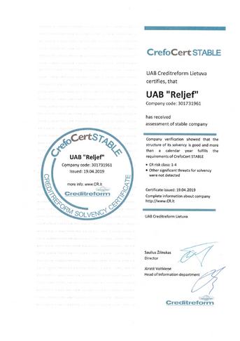 Reljef CERT sertifikatas