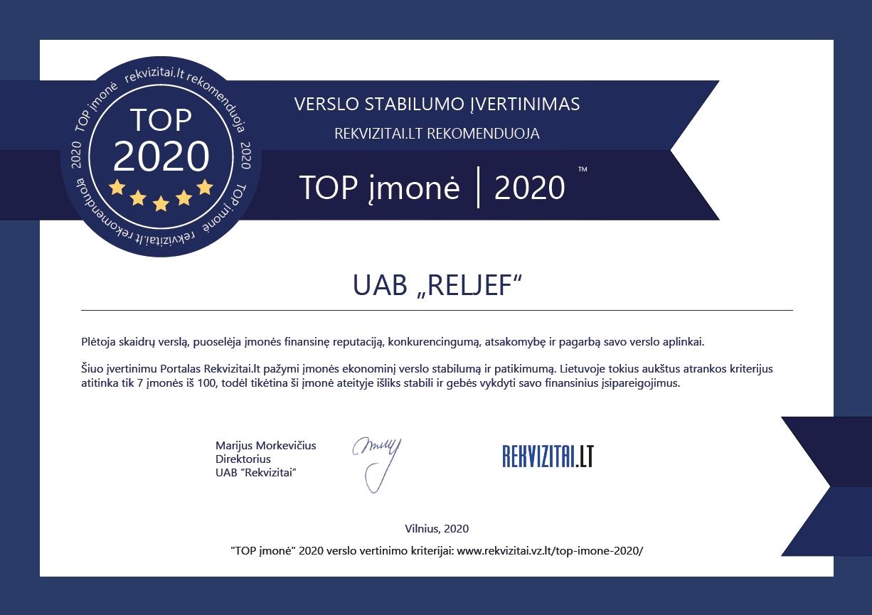 Reljef certificate